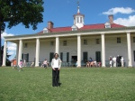 Looking up at the porch at Mount Vernon