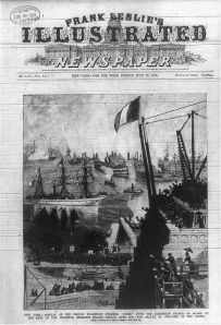 Frank Leslie's Illustrated Newspaper showing the arrival of the Isère
