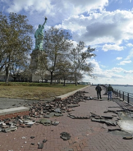 Liberty Island following Hurricane Sandy