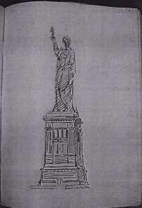 Statue of Liberty pedestal, early study.