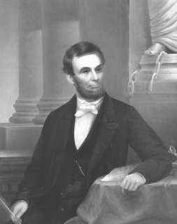 Edward Dalton Marchant painting of 1863 of President Abraham Lincoln having signed the Proclamation of Emancipation